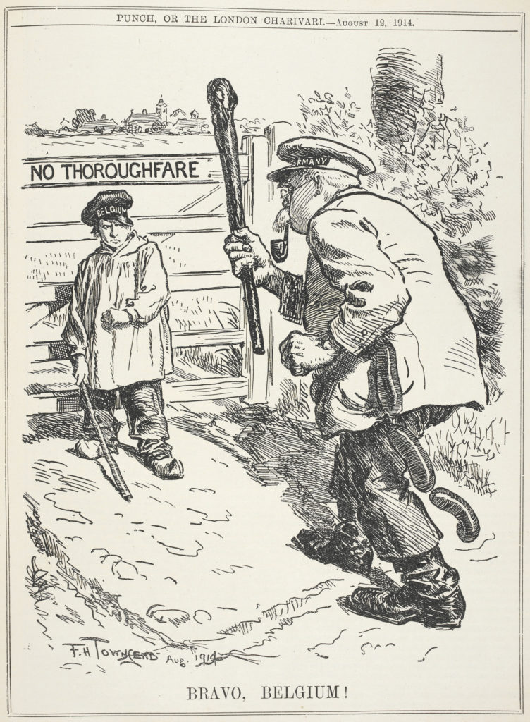 """Bravo, Belgium!"" political cartoon in Punch from August 12, 1914"