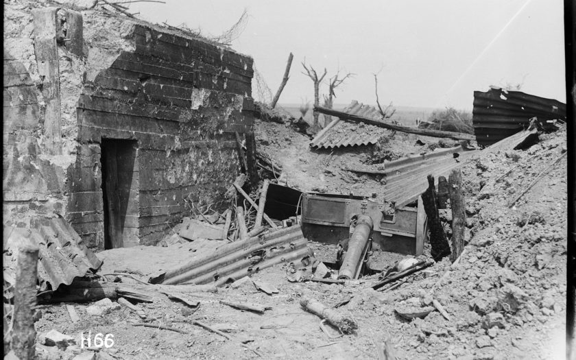 German 77mm gun emplacement destroyed by New Zealand troops during the Battle of Messines, Belgium. Photograph taken by Henry Armytage Sanders in June, 1917.