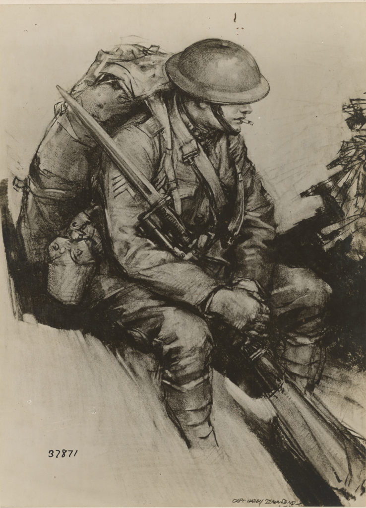 Drawing of Pvt. Berhens, S.C., by Harry Townsend, 1918, Infantryman; War Department. Historical Branch of the General Staff.