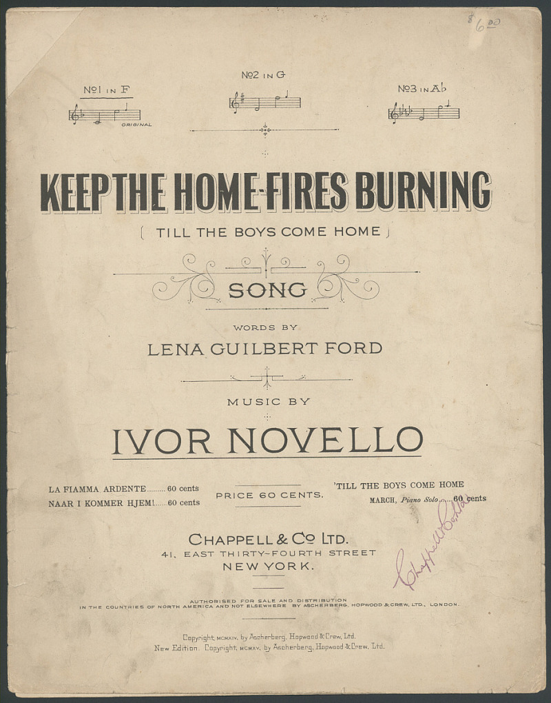 Sheet music. Keep the Home Fires Burning (Till the Boys Come Home). 1983.0313.05 ; source, National Museum of American History.