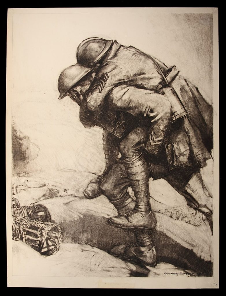 Sketch by Harry Townsend, 1918, Helping a Wounded Ally; War Department. Historical Branch of the General Staff.
