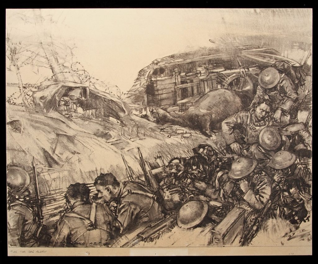 Sketch by Harry Townsend, 1918, On the Gas Alert; War Department. Historical Branch of the General Staff.