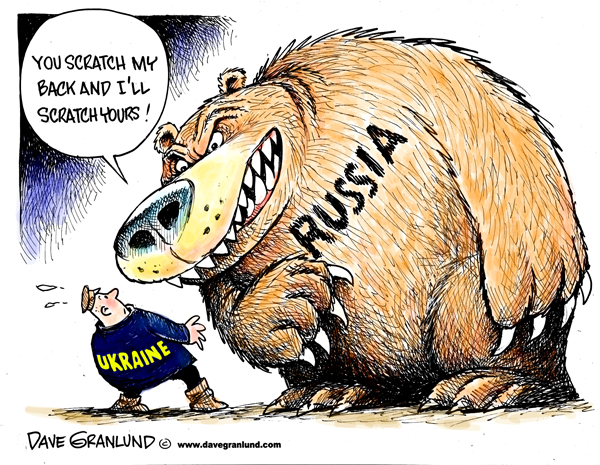 """Russia and Ukraine,"" political cartoon from April 18, 2014; used with permission; https://www.davegranlund.com/cartoons/2014/04/17/russia-and-ukraine/"