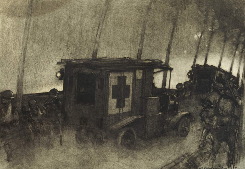 Charcoal drawing by Harry Townsend, 1918, The Hurry Call, Night of May 30, 1918, in the Toul Sector; War Department. Historical Branch of the General Staff.